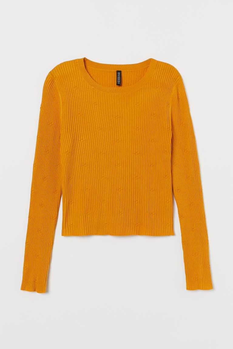 Ribbed Top - Mustard yellow - Ladies | H&M US