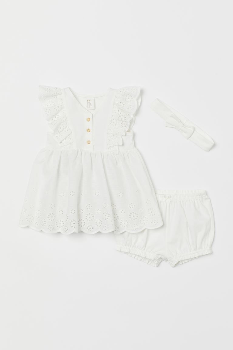 3-piece jersey set - White - Kids | H&M GB