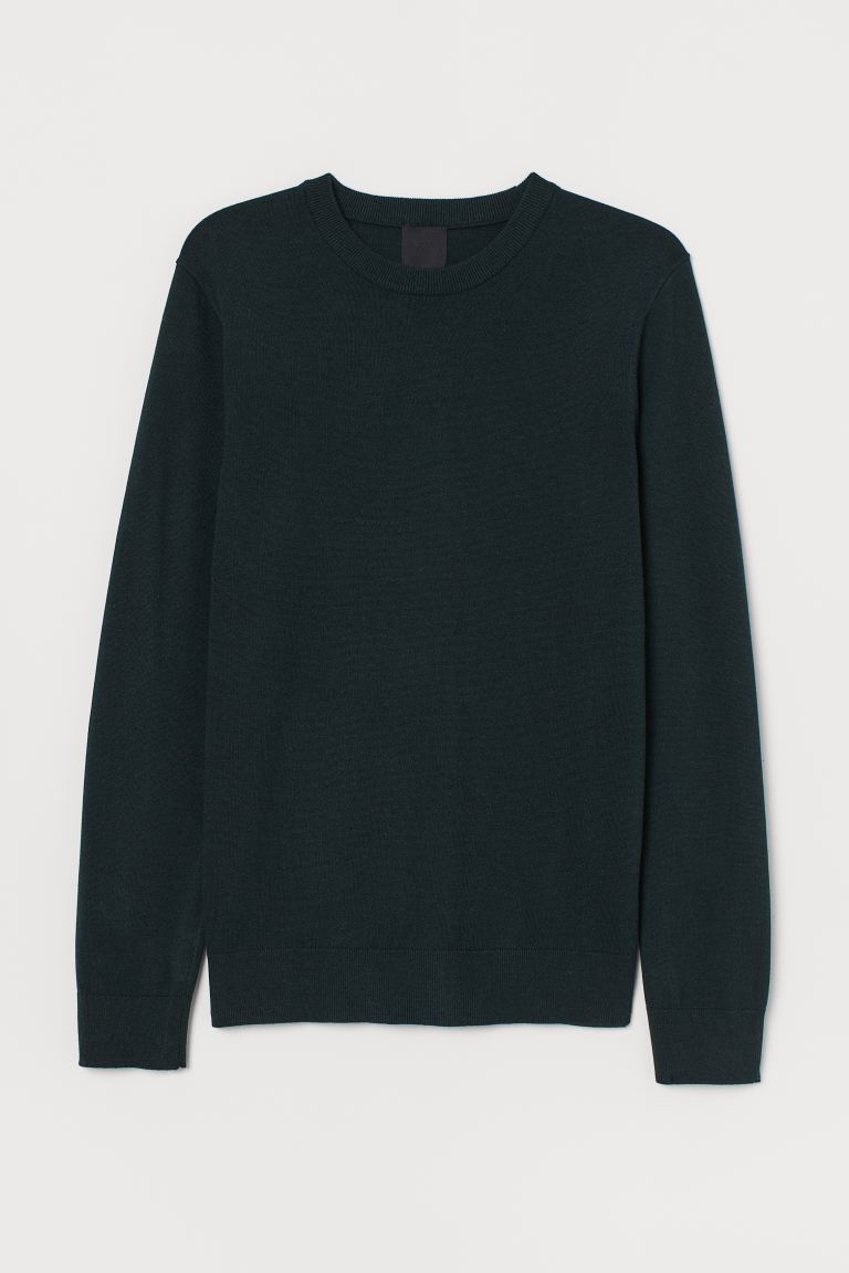 Fine-knit Sweater - Dark green melange - Men | H&M US