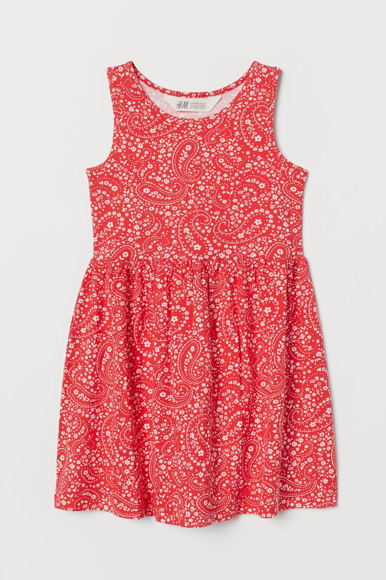 Patterned Jersey Dress - Red/paisley-patterned - Kids | H&M CA