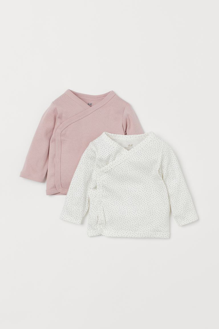 2-pack wrapover tops - Light pink/Spotted - Kids | H&M IN