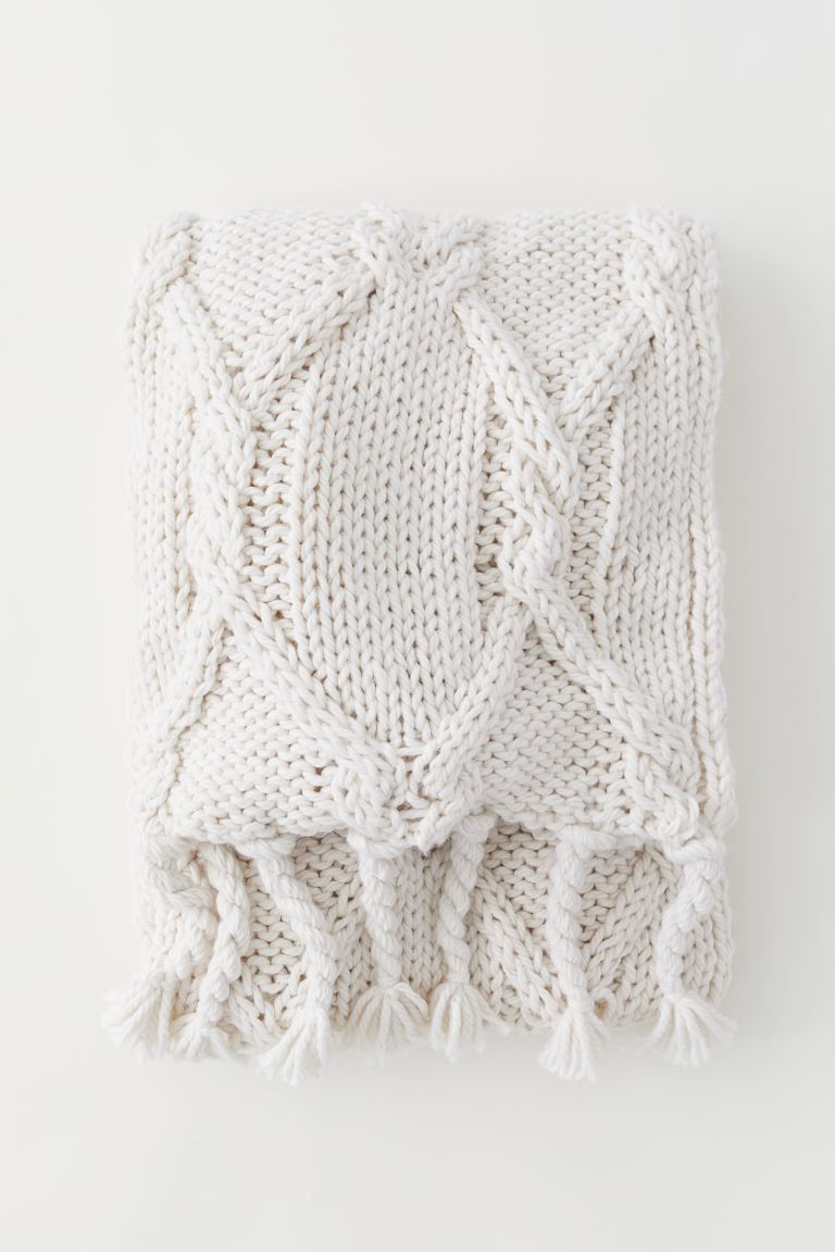 Textured-knit Throw - White - Home All | H&M US