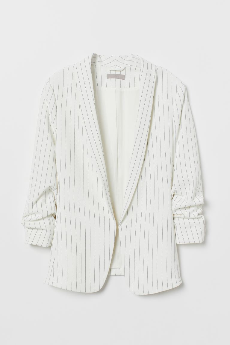Shawl-collar Jacket - White/black striped - Ladies | H&M US