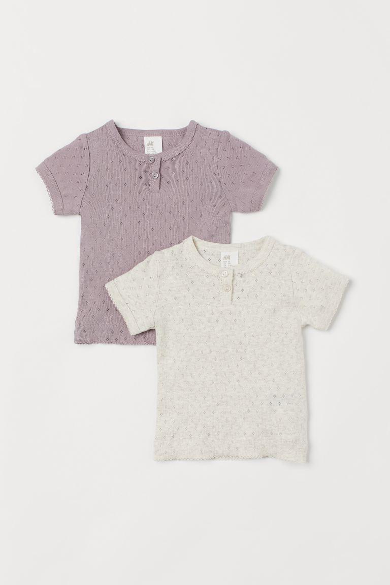 2-pack T-shirts - Heather purple/Natural white - Kids   H&M GB