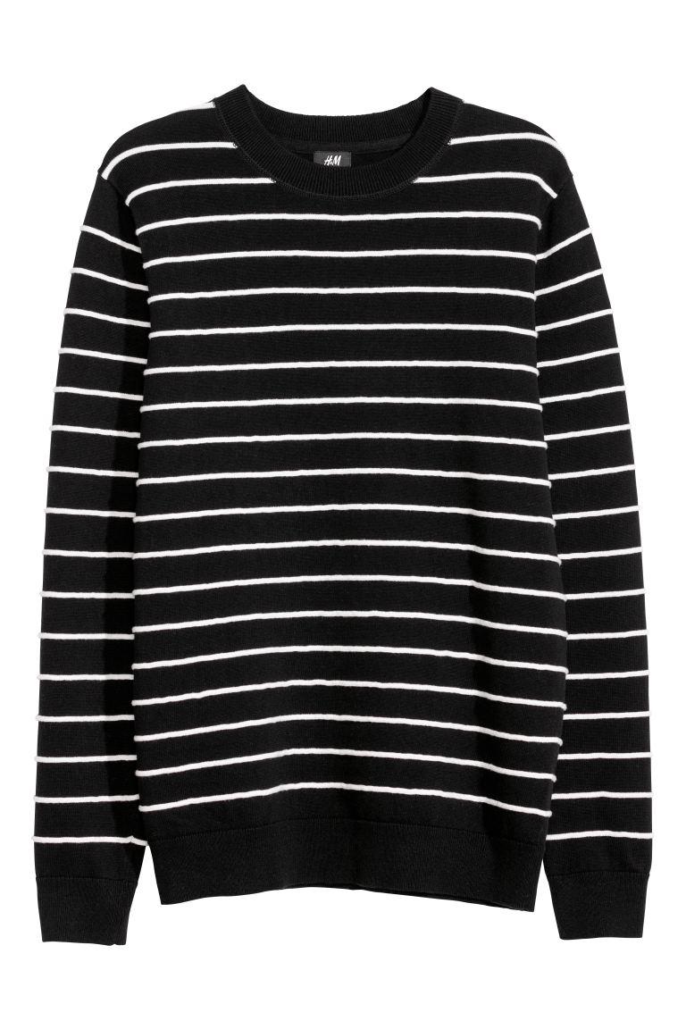 Jacquard Knit Sweater Black White Striped Men H M Us