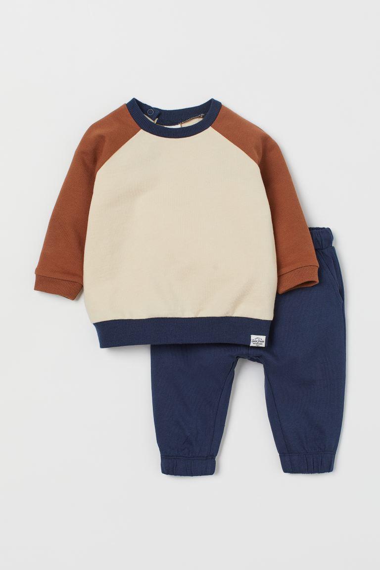 2-piece cotton set - Dark blue/Block-coloured -  | H&M GB