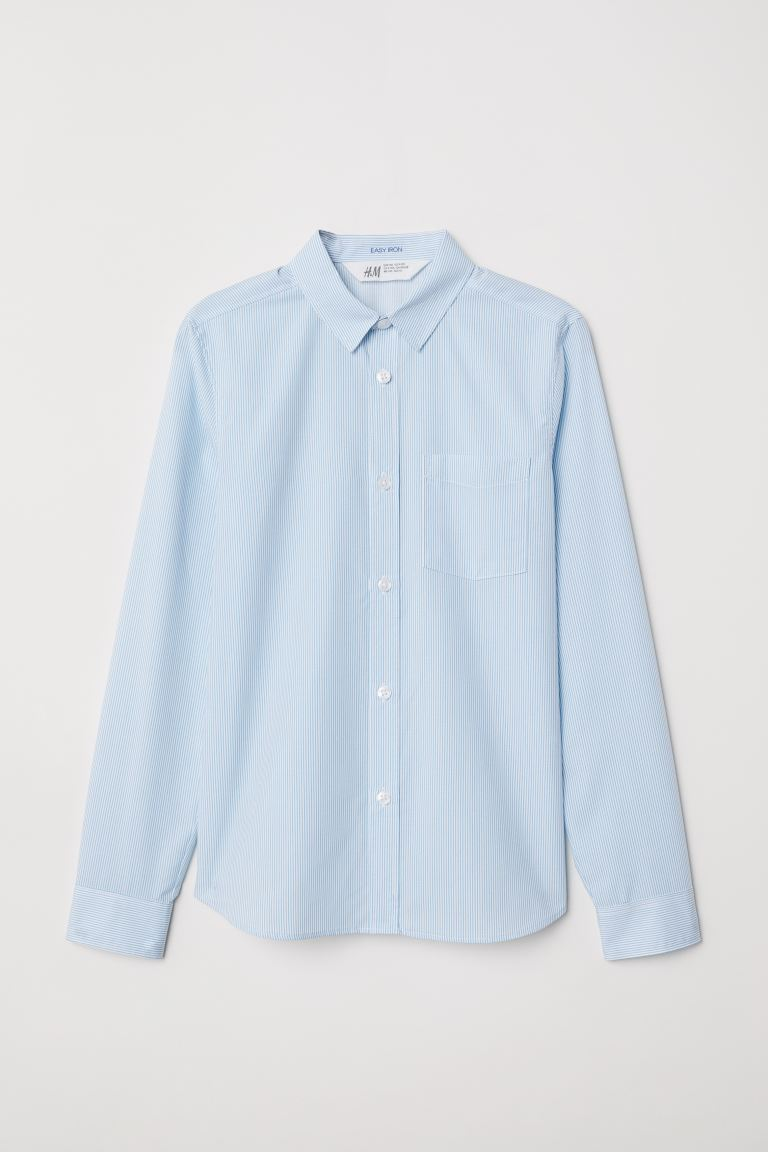 Easy-iron shirt - Light blue/White striped - Kids | H&M