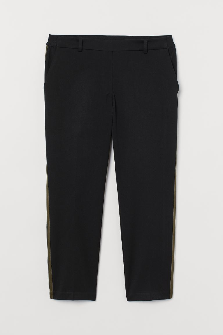 H&M+ Pull-on trousers - Black/Side stripes - Ladies | H&M GB