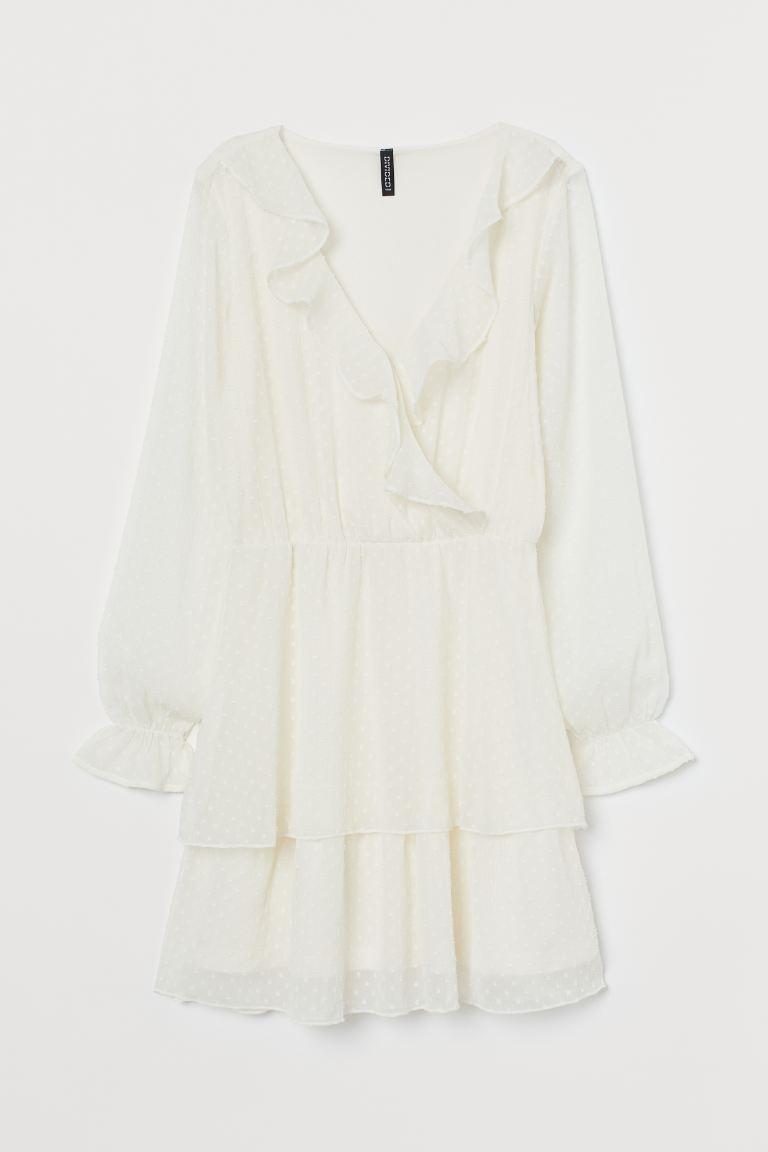 Kleid aus Plumetis-Chiffon - Cremefarben - Ladies | H&M DE 4