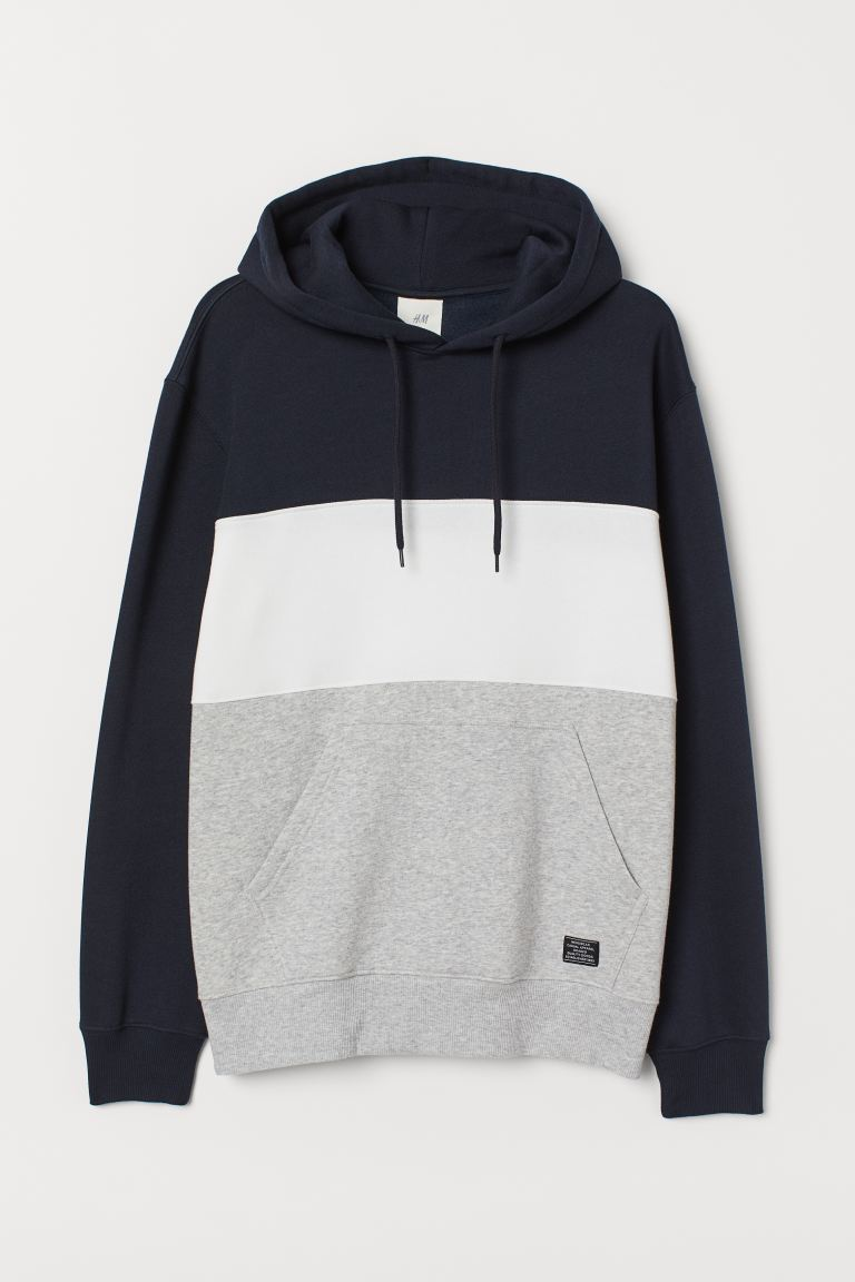 Block-coloured hooded top - Dark blue/Block-coloured -  | H&M