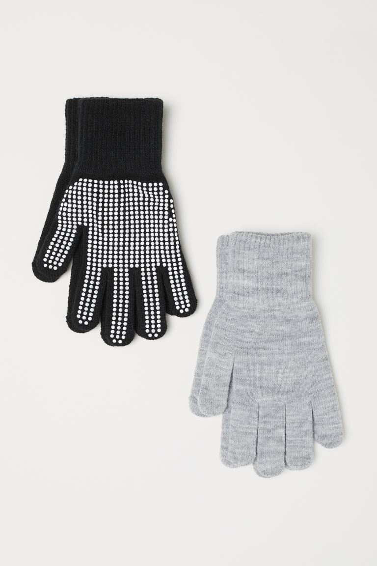 2-pack gloves - Black/Spotted -    H&M GB