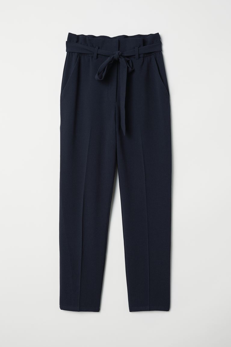 Paper-bag Pants - Dark blue - Ladies | H&M US