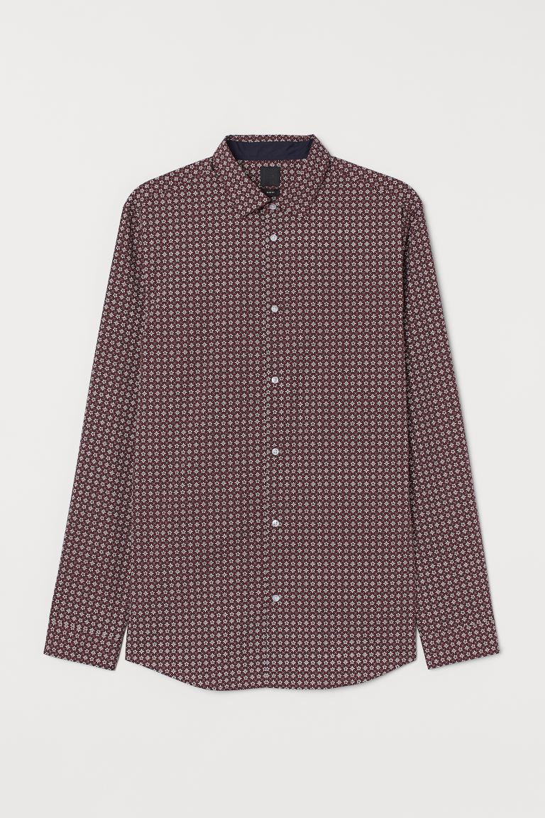 Camicia misto cotone Slim fit - Bordeaux/fantasia - UOMO | H&M IT