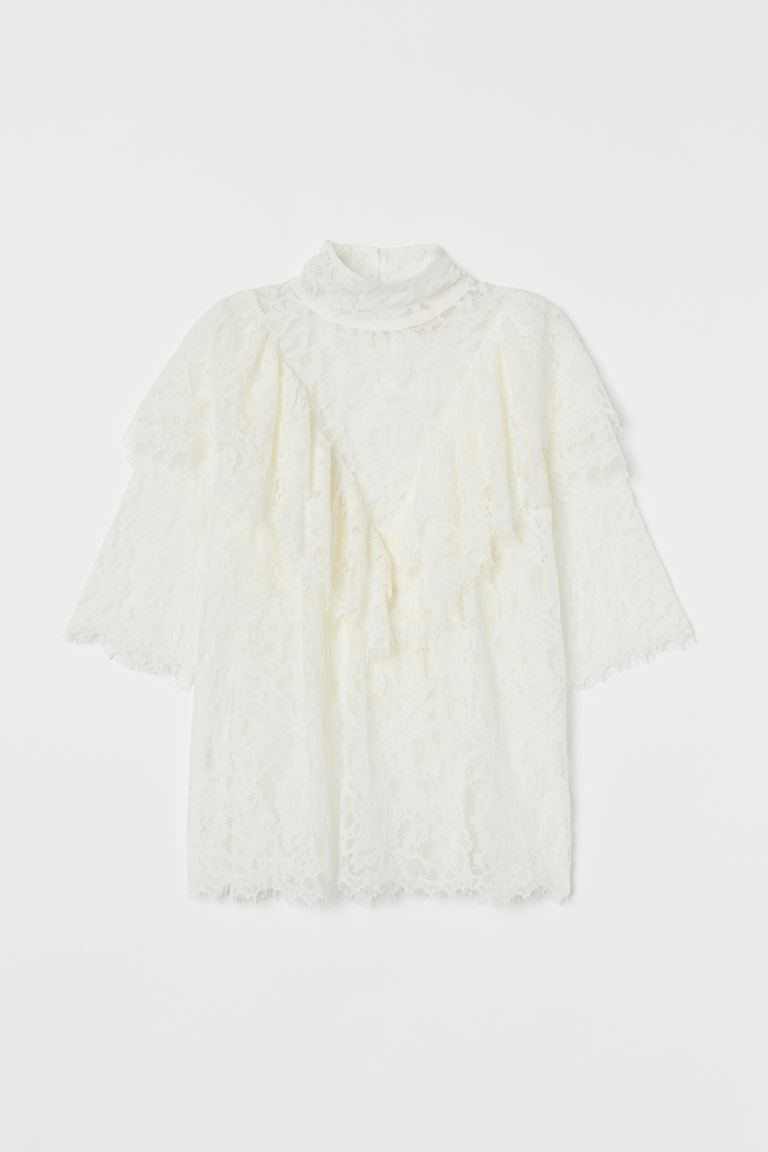 Flounced Lace Blouse - Cream -  | H&M US