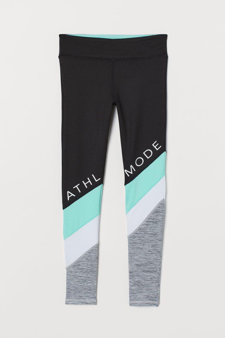 Sports tights - Black/Turquoise - Kids | H&M GB