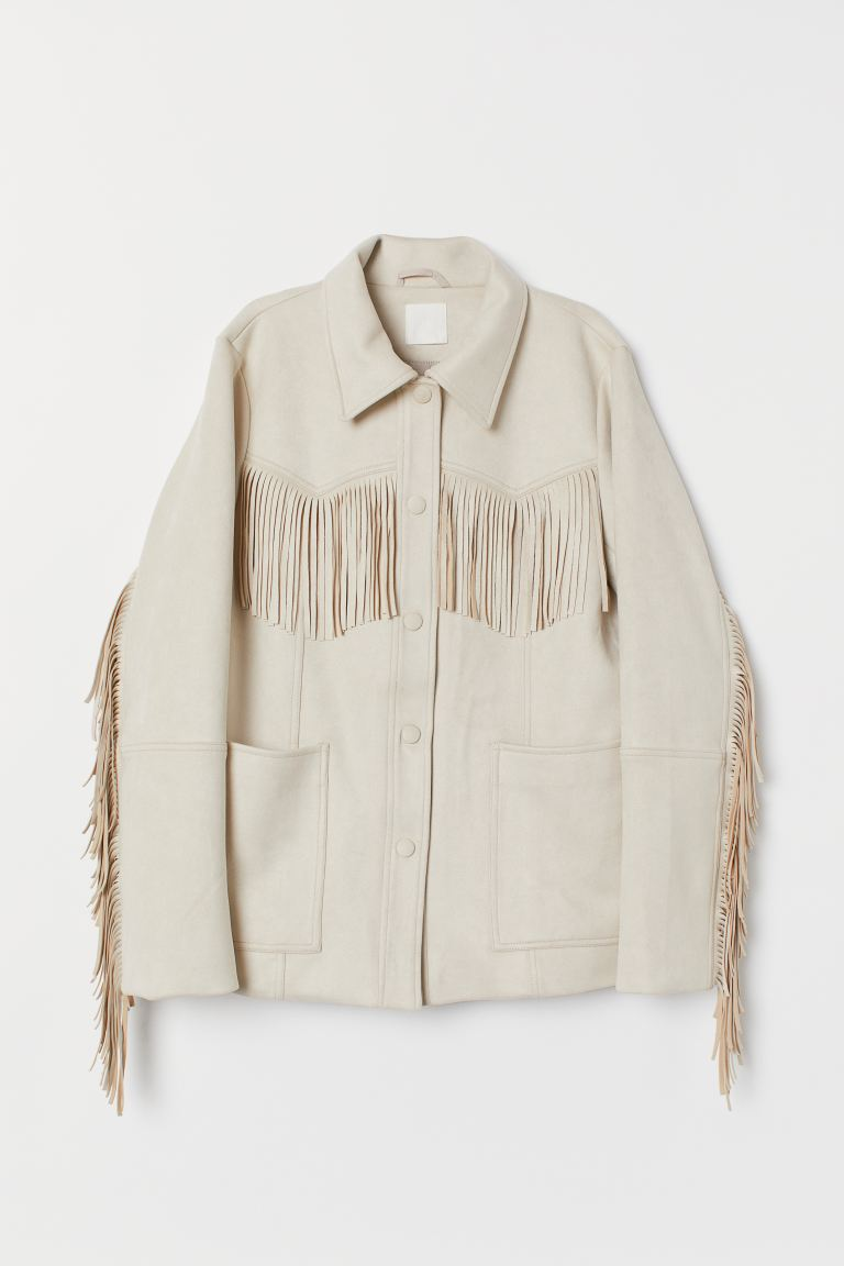 Jacket with fringing - Light beige - Ladies | H&M IE