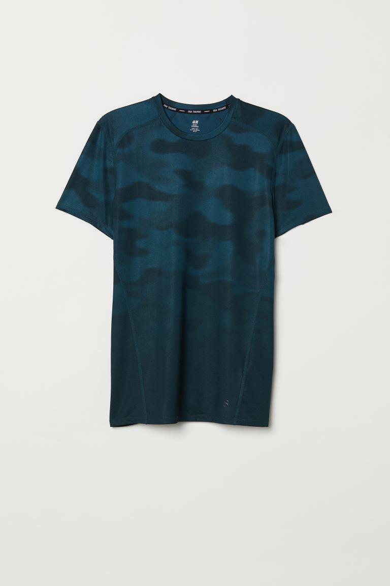 Sports top Slim Fit - Petrol/Patterned - Men | H&M