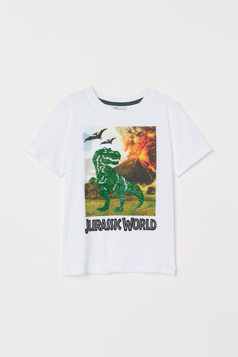 Reversible sequin T-shirt - White/Jurassic World -  | H&M GB