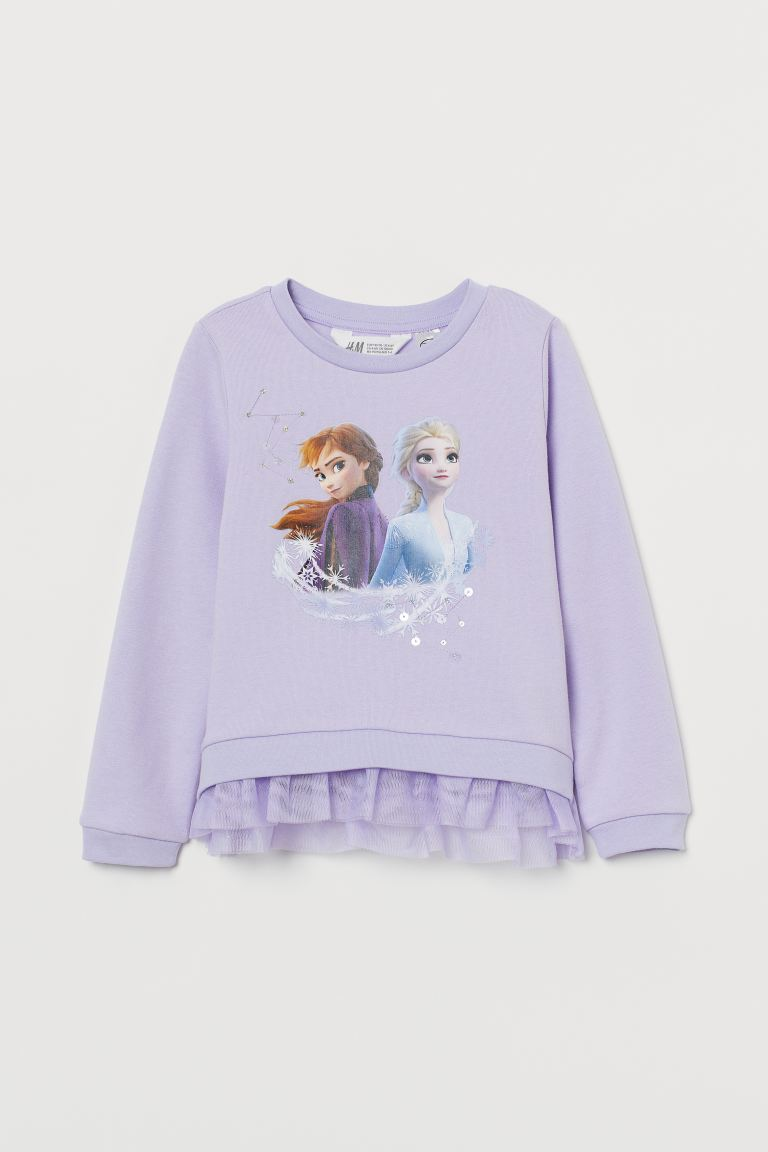 Sweatshirt with tulle - Light purple/Frozen -  | H&M IE