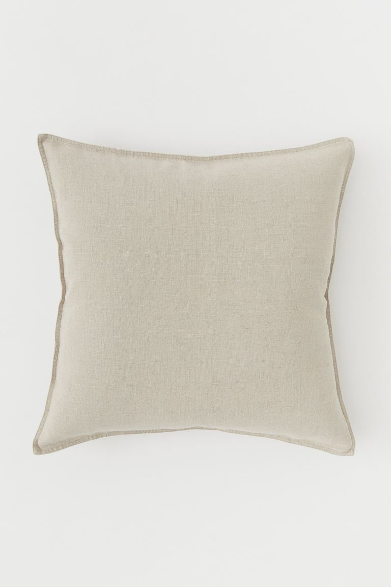 Washed Linen Cushion Cover - Linen beige - Home All | H&M CA