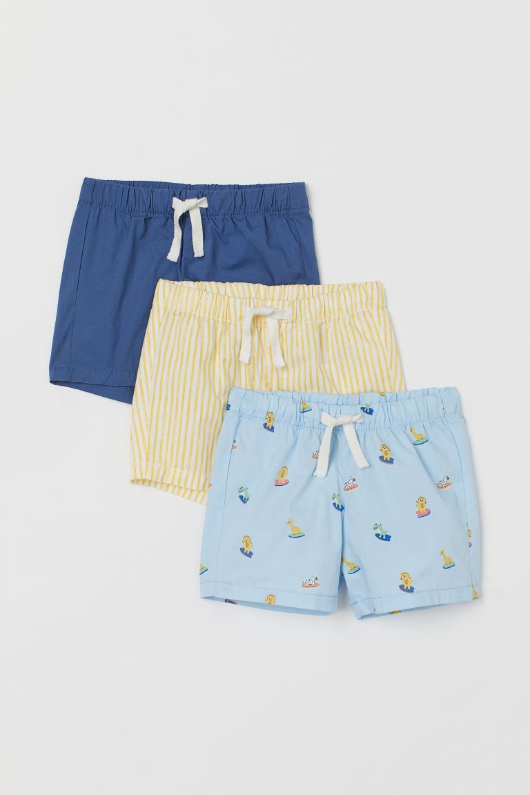 3-pack cotton shorts - Light blue/Animals - Kids | H&M