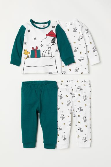 2-pack Jersey Sets - White/Snoopy - Kids | H&M CA