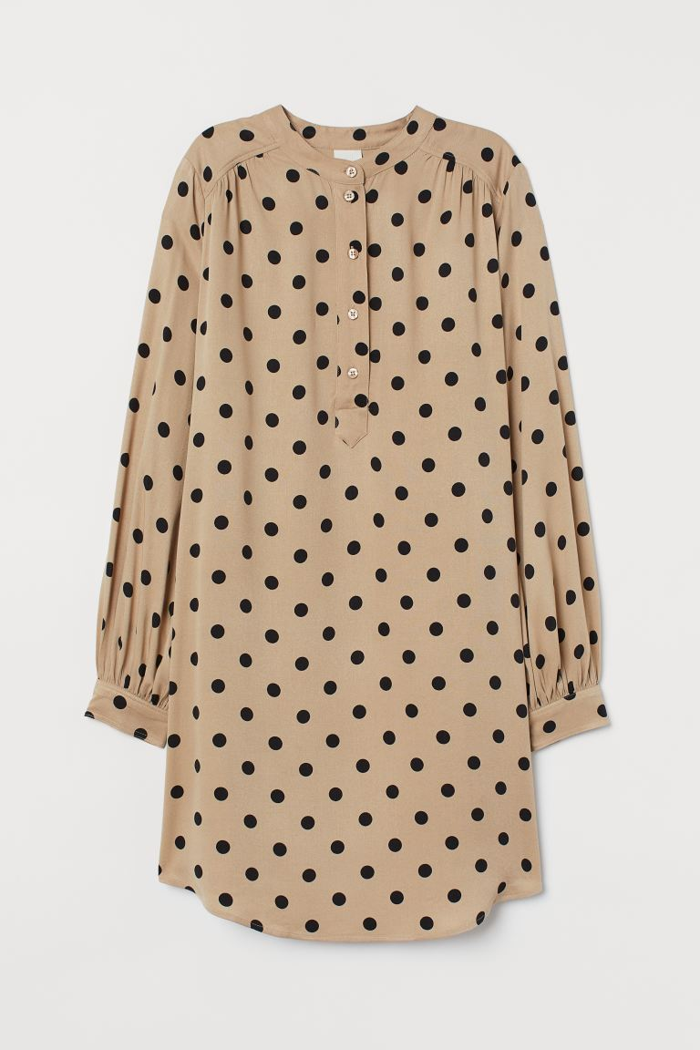 Balloon-sleeved dress - Beige/Black spotted - Ladies | H&M GB