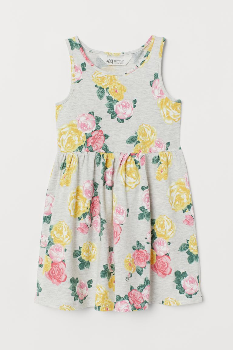 Patterned jersey dress - Grey marl/Roses - Kids | H&M