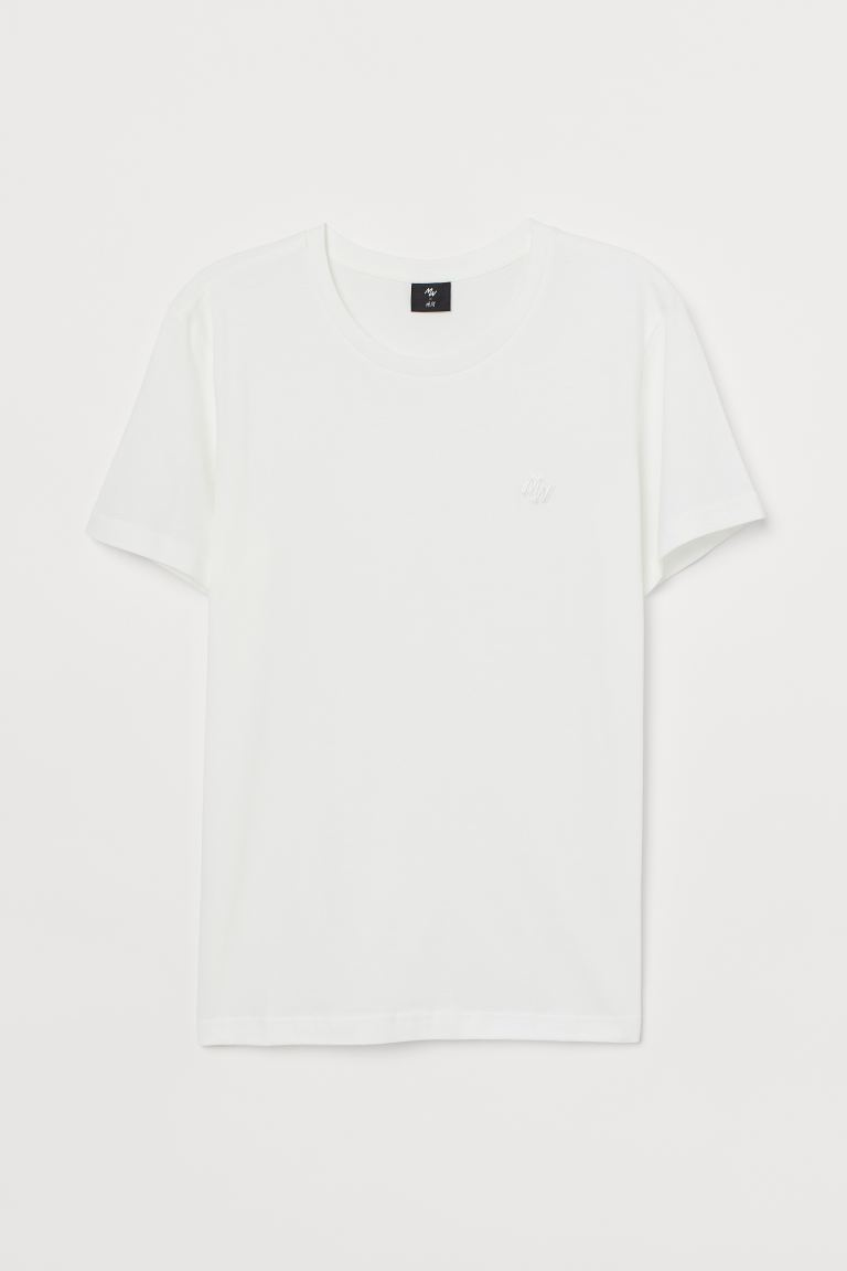 T-shirt with Embroidery - White - Men | H&M US