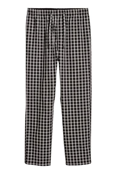 Pyjama bottoms - Black/Grey checked - Men | H&M IN