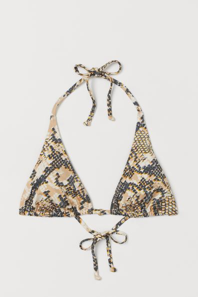 Triangle Bikini Top - Beige/snakeskin-patterned - Ladies | H&M US 3