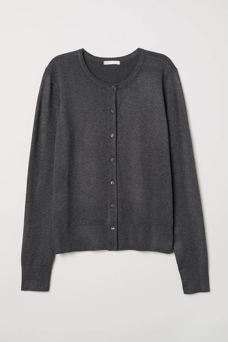 Fine-knit cardigan - Dark grey marl - Ladies | H&M IN