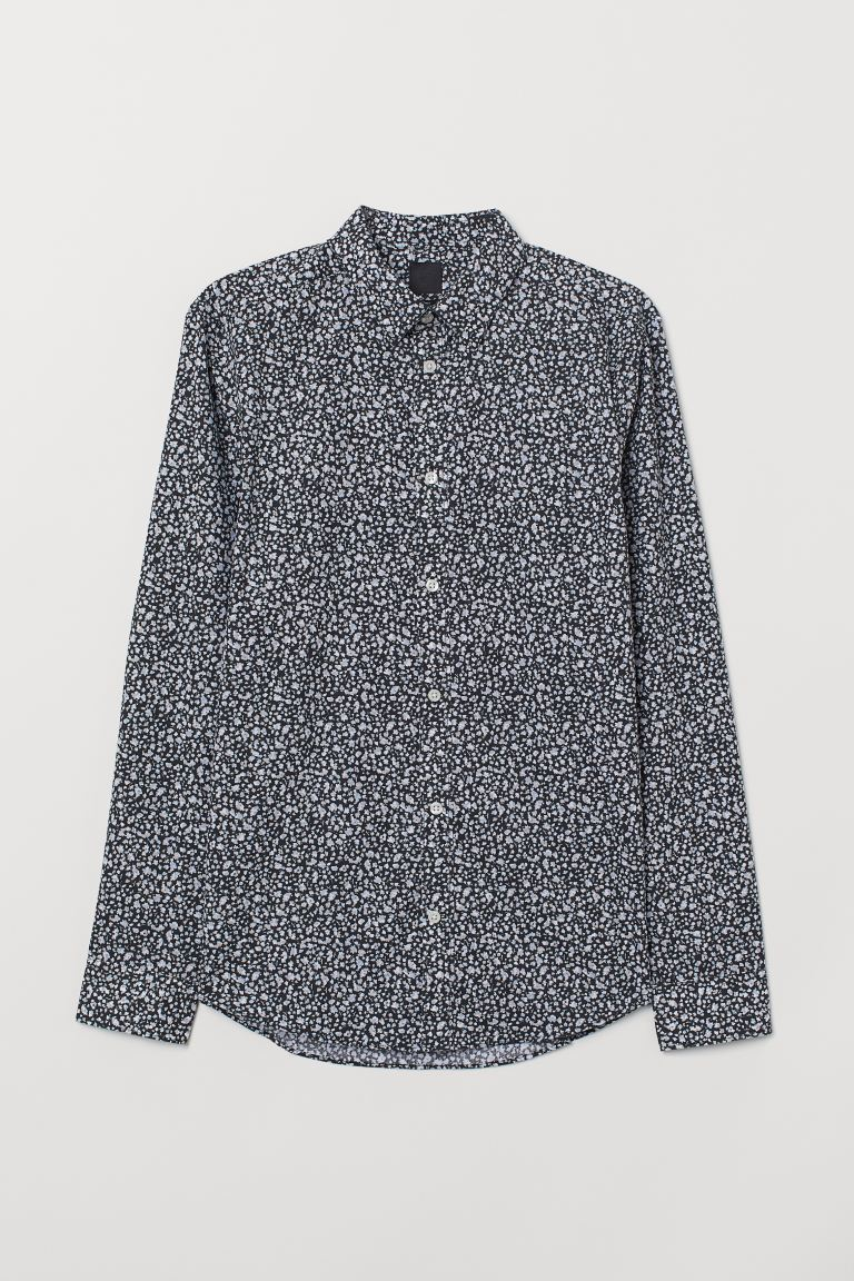 Camisa Easy-iron Slim fit - Negro/Floral - Men | H&M US