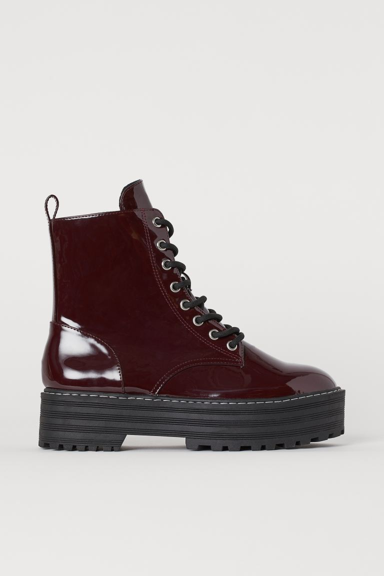 Boots met plateauzool - Bordeauxrood - DAMES | H&M NL