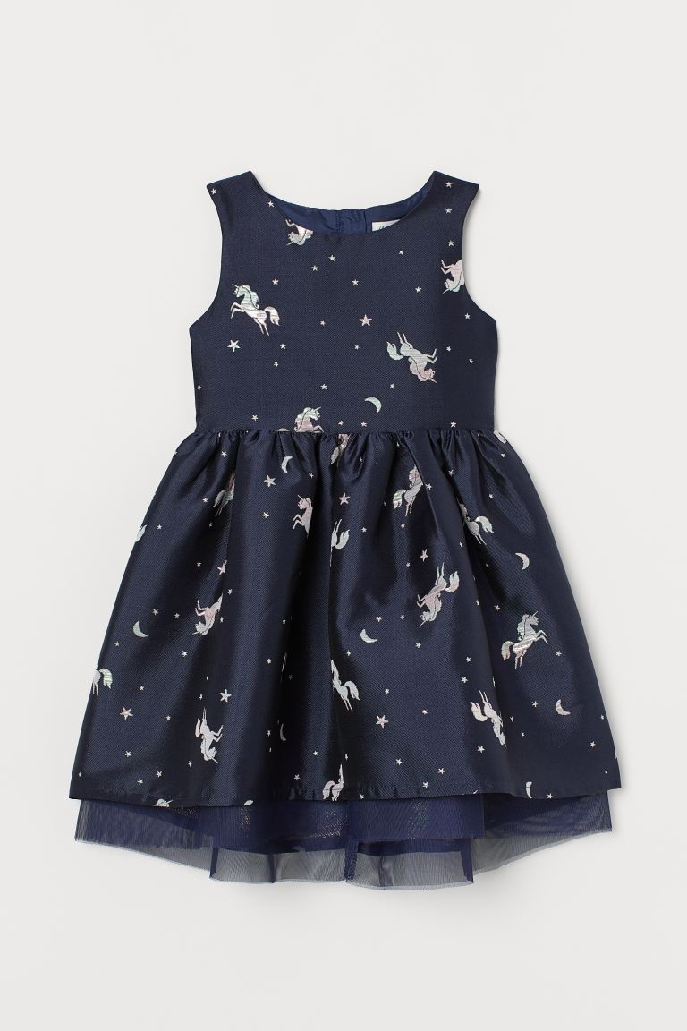 Jacquard-weave dress - Dark blue/Unicorns - Kids | H&M