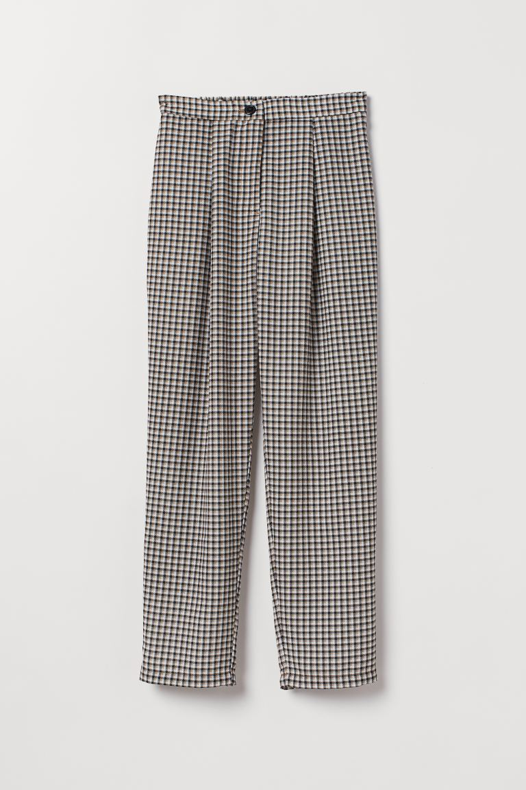 Wide-leg Pants - Dark beige/checked - Ladies | H&M US