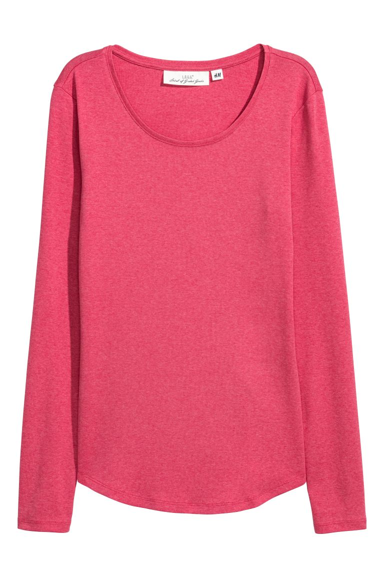 Long-sleeved jersey top - Cerise marl - Ladies | H&M