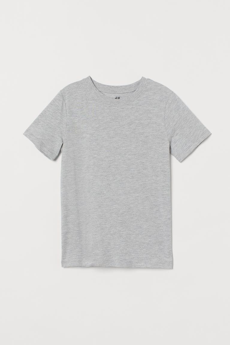Cotton T-shirt - Light grey marl - Kids | H&M GB