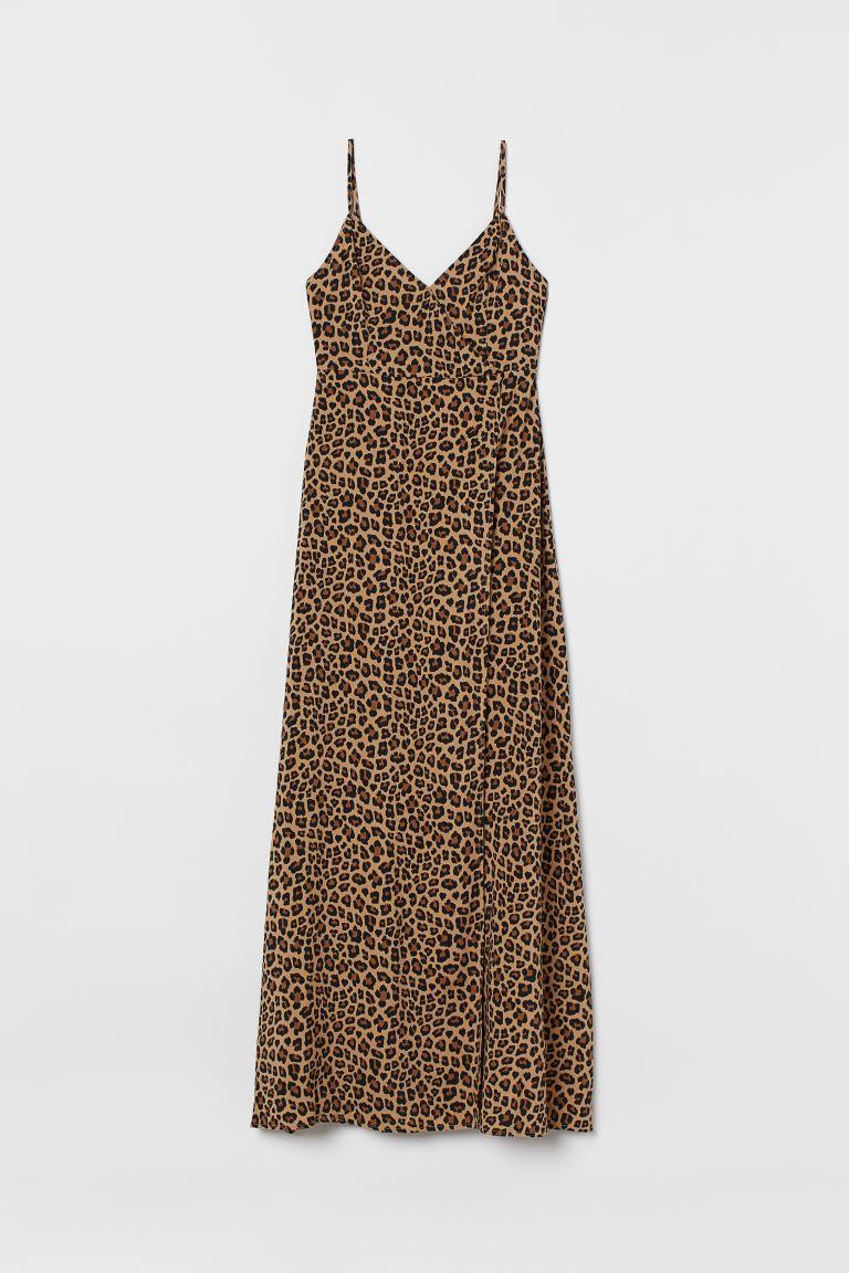 Super Maxi-jurk met V-hals - Donkerbeige/luipaarddessin - DAMES | H&M NL AO-11