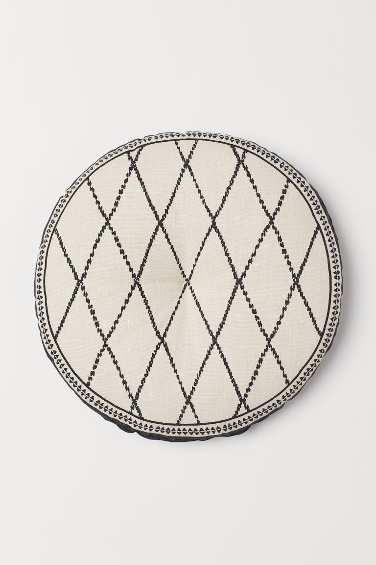 Cotton Seat Cushion - Light beige/patterned - Home All | H&M US