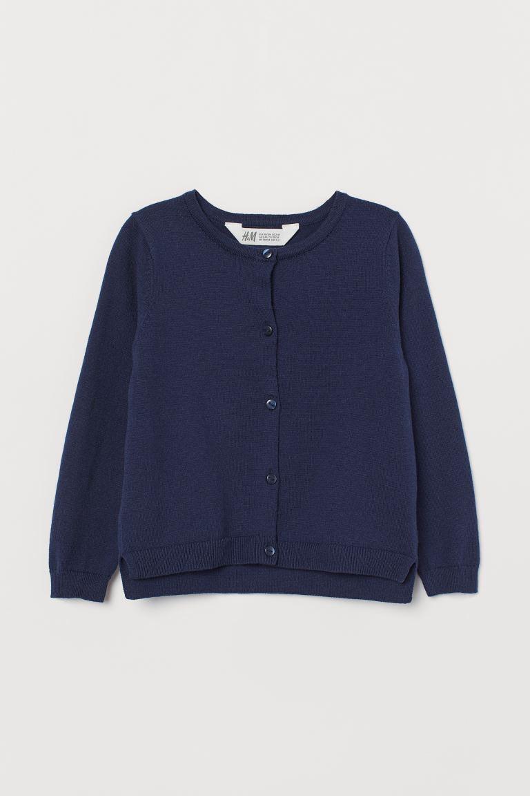 Fine-knit cotton cardigan - Navy blue -    H&M GB