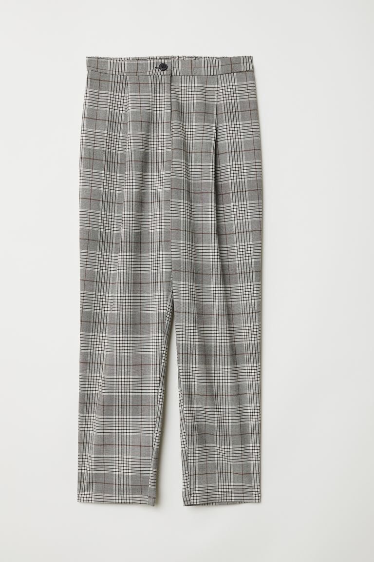 Wide-leg Pants - Black/checked - Ladies | H&M US