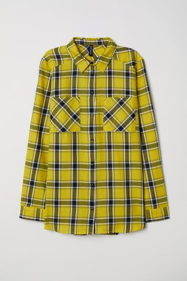 Checked shirt - Bright yellow/Checked - Ladies | H&M GB