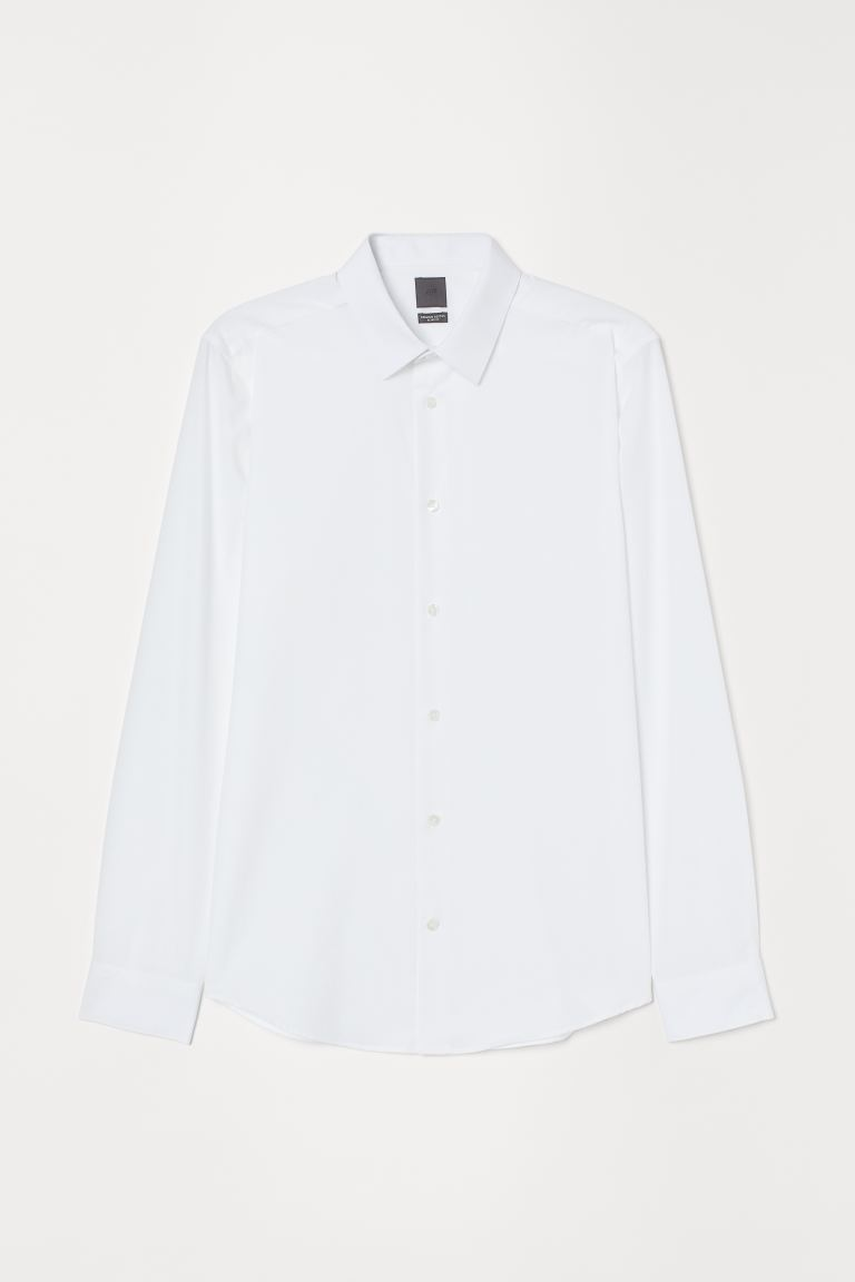 Premium cotton poplin shirt - White - Men | H&M GB