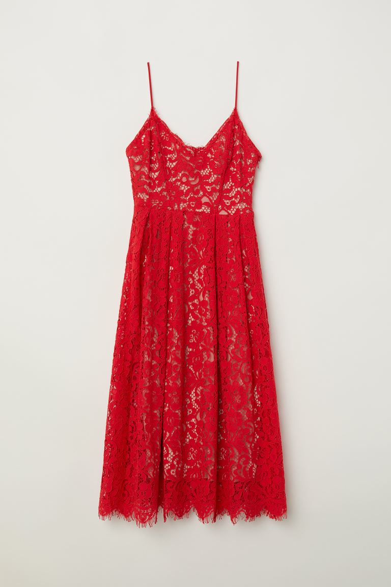 Lace dress - Bright red - Ladies | H&M GB