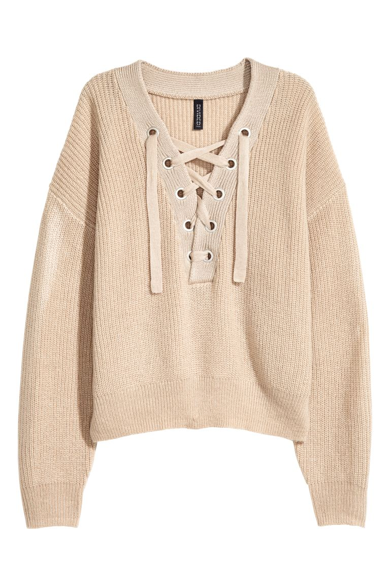 Knitted jumper with lacing - Light beige - Ladies | H&M GB