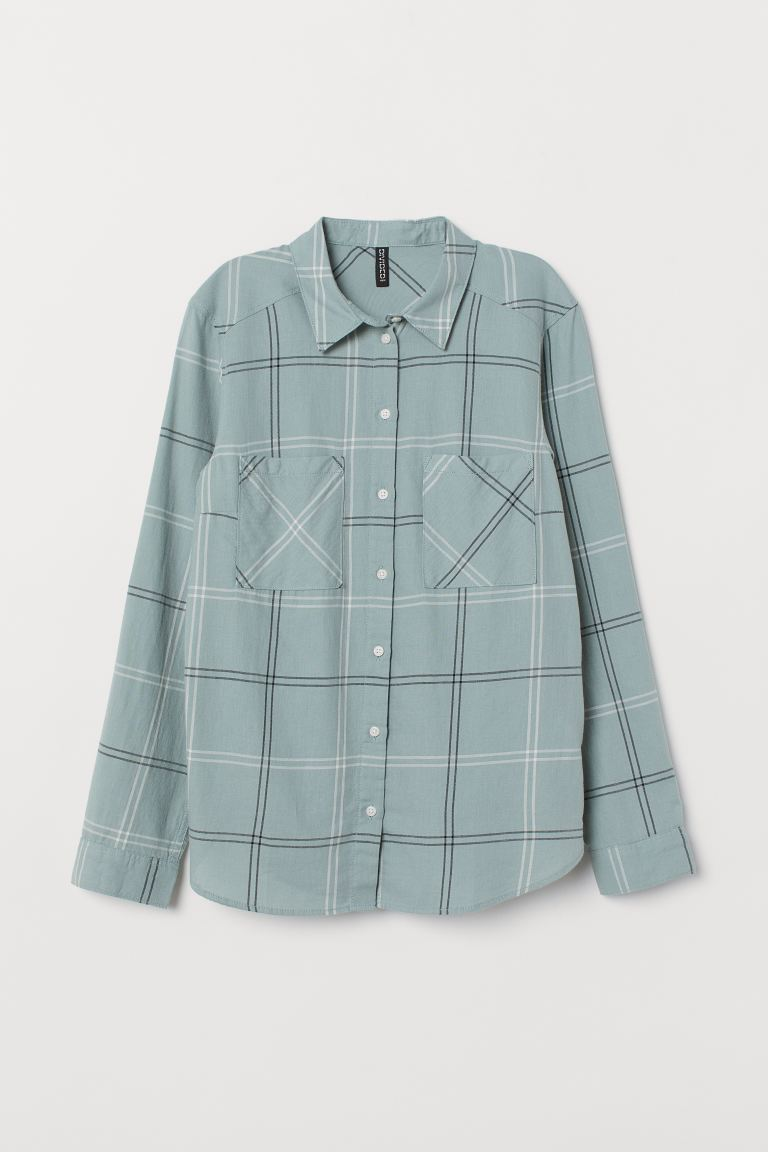 Cotton Shirt - Light turquoise/checked - Ladies | H&M US