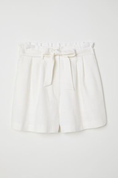 Paper Bag Shorts - White - Ladies | H&M US