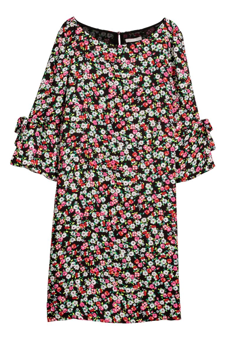 Satin dress - Black/Floral - Ladies | H&M