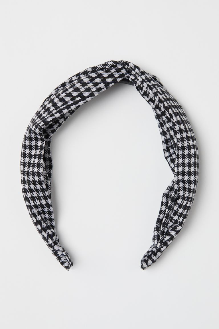 Hairband with Knot Detail - White/houndstooth-patterned - Ladies | H&M US